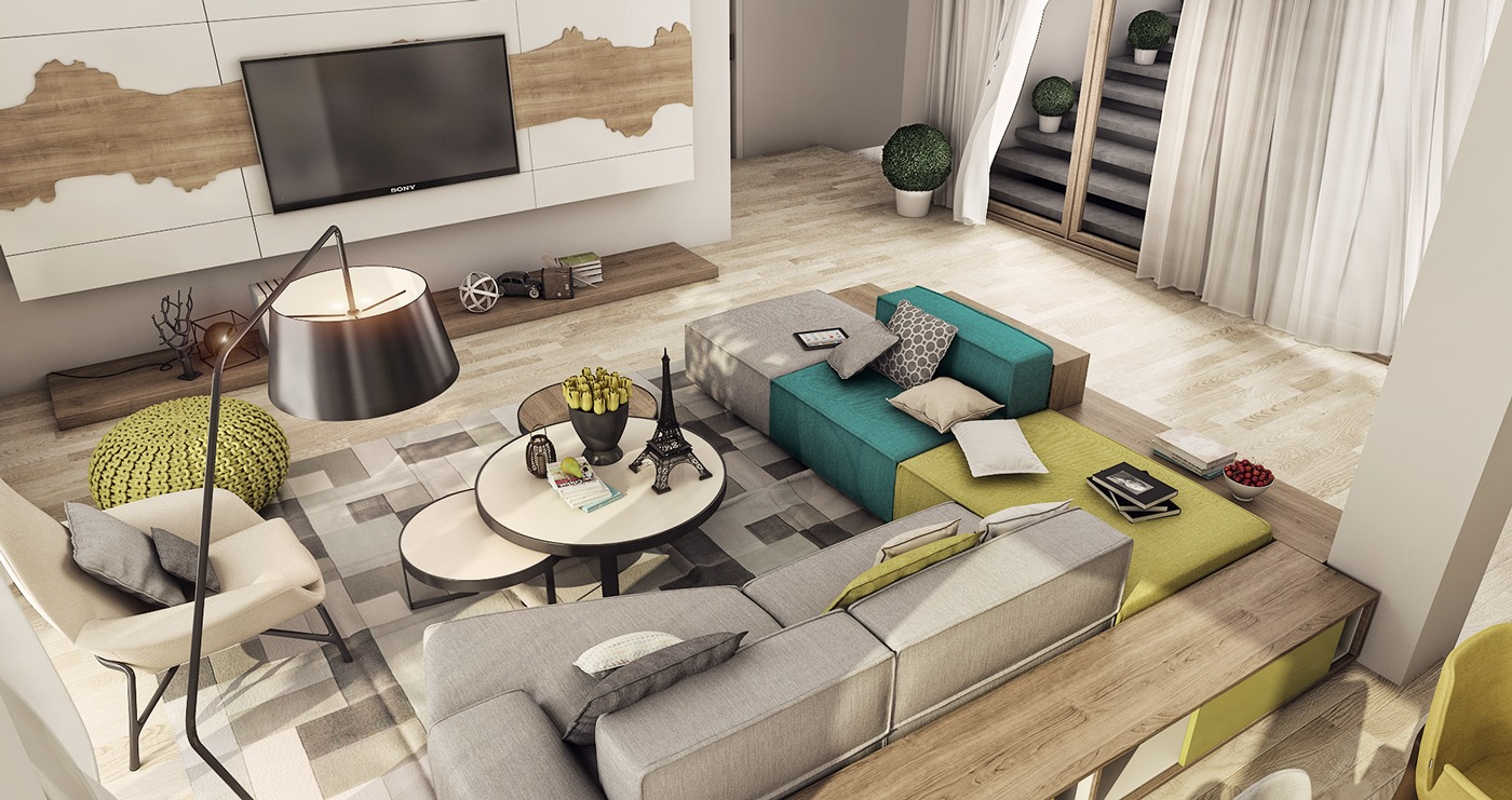 Gray And Green - 2 luxury apartment designs for young couples