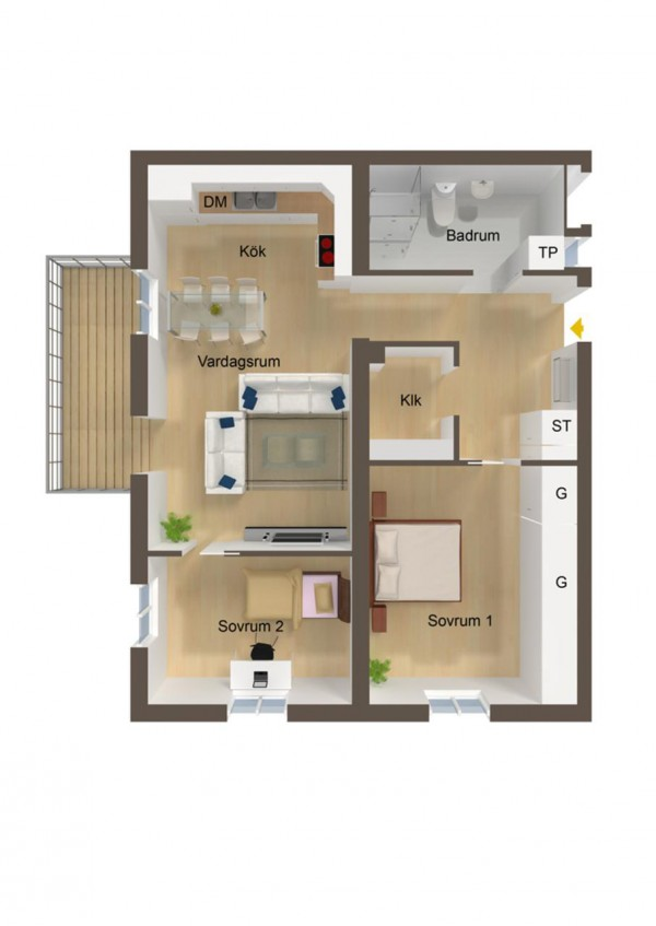 An eat-in kitchen and balcony area are the most notable, if not unique,  features of this particular home layout.