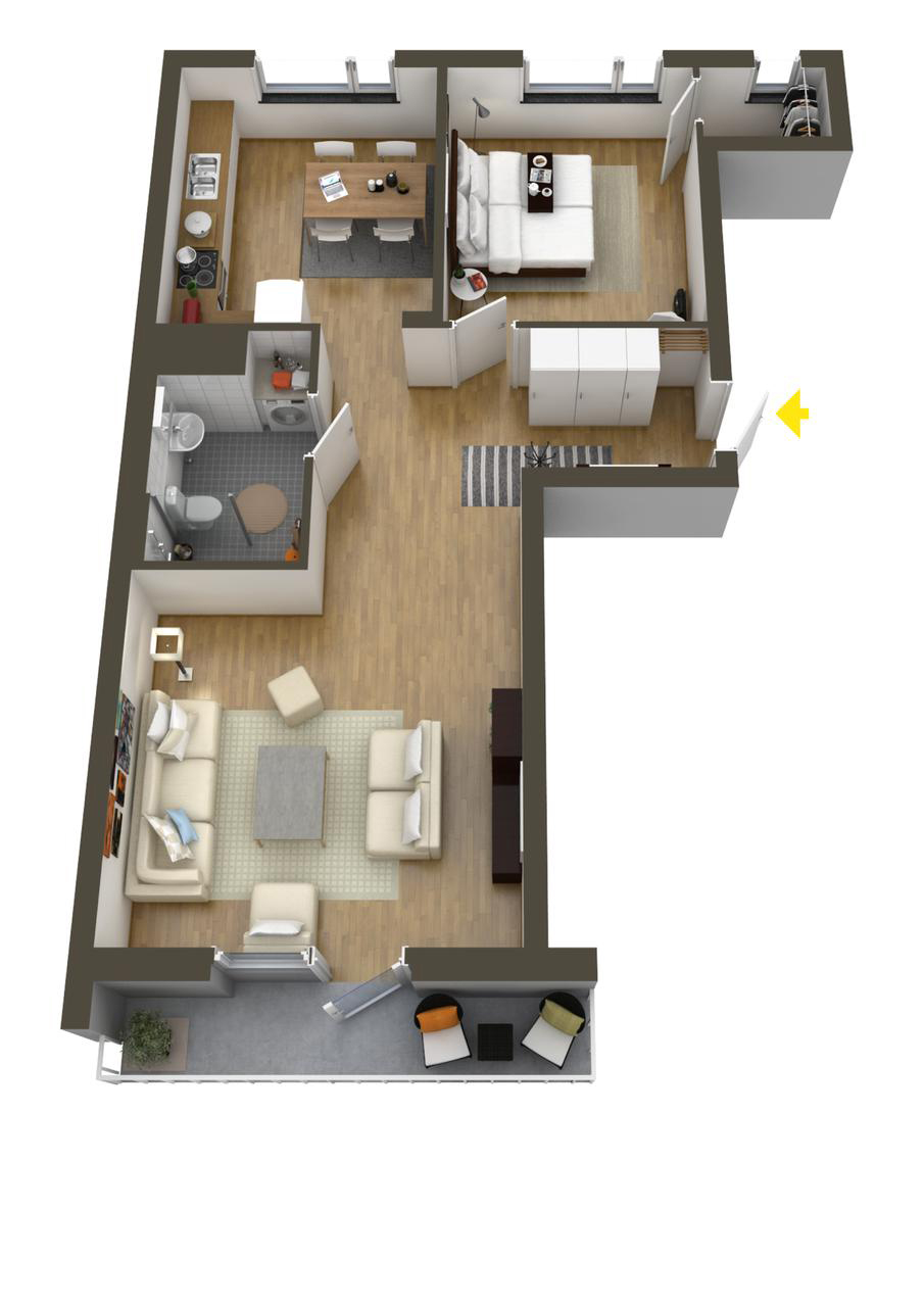 40 more 1 bedroom home floor plans for Free house layout