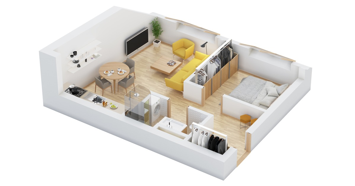 How To Layout A Home - 40 more 1 bedroom home floor plans