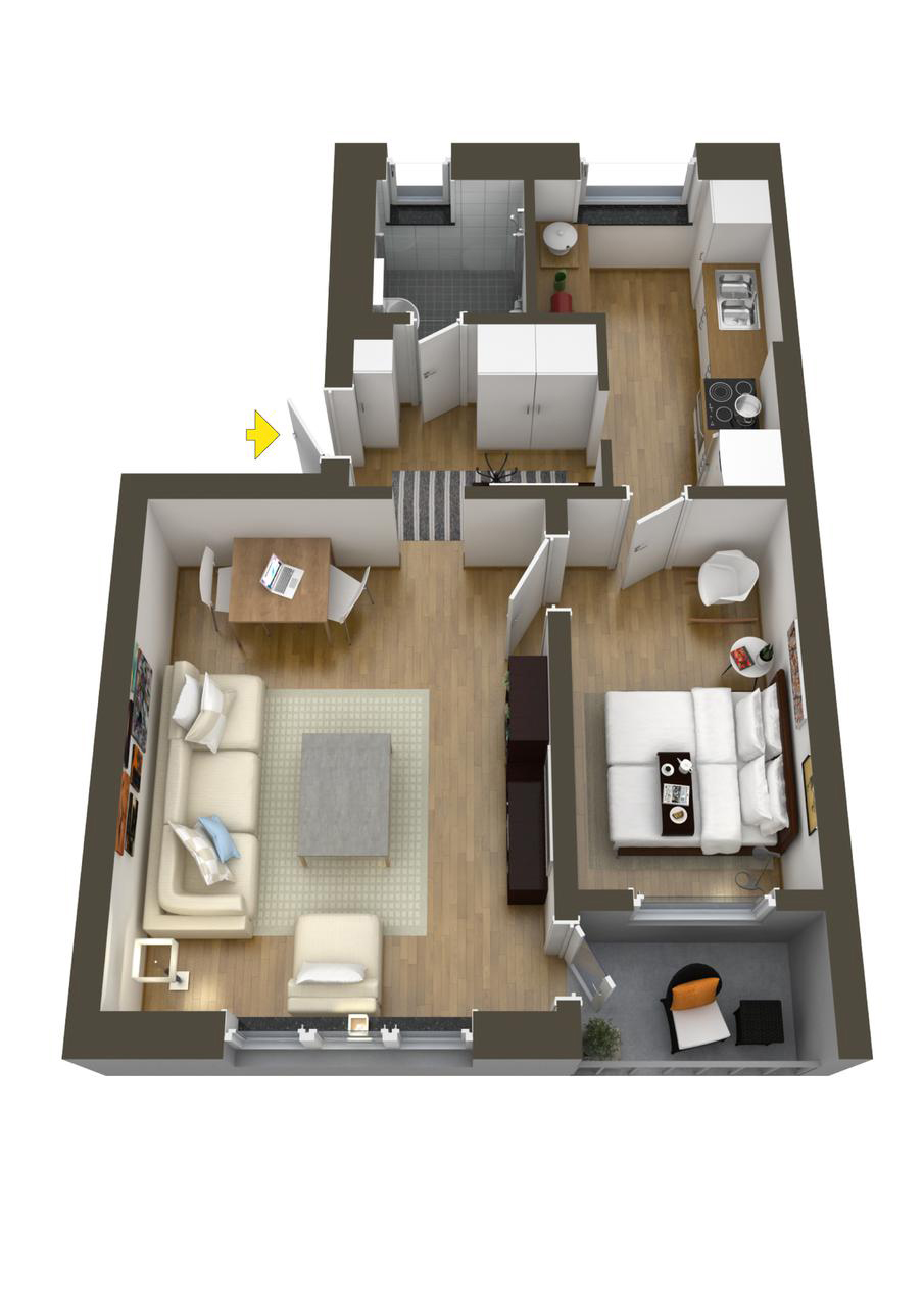 How To Layout A House - 40 more 1 bedroom home floor plans