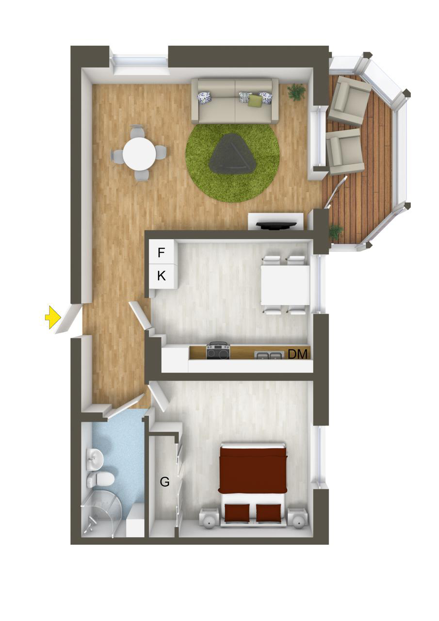 How To Organize A One Bedroom - 40 more 1 bedroom home floor plans