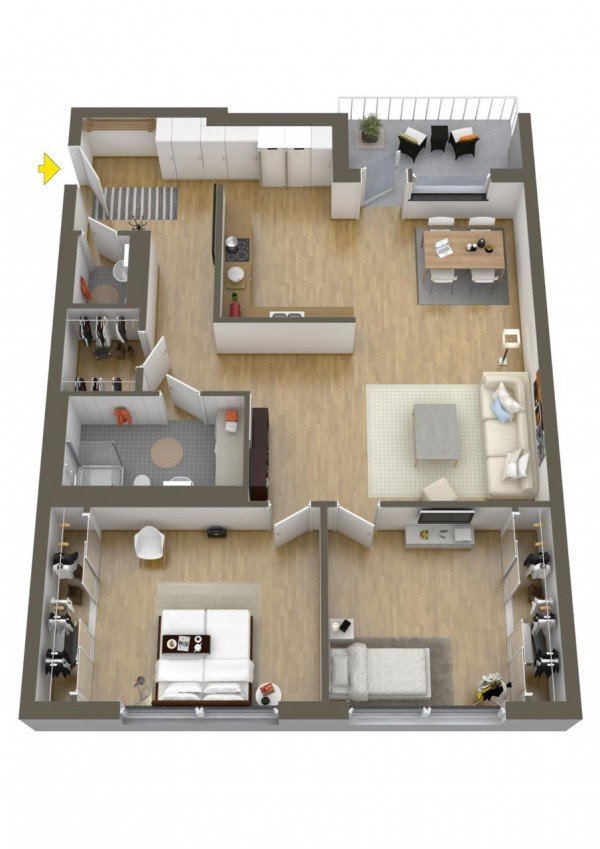 This large two bedroom has plenty of space for privacy, entertaining, relaxing, and retreating.