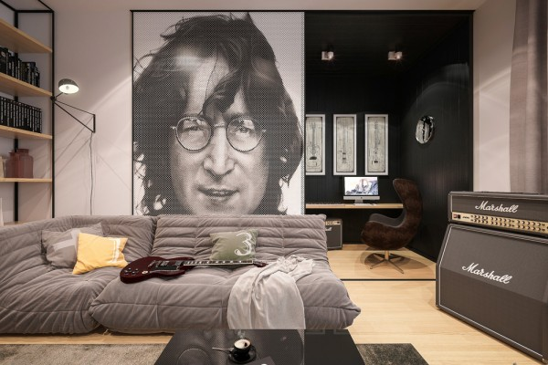 The second space is just the living room of an apartment what was designed for a young couple. It is not difficult to guess that John Lennon is a major inspiration for the occupants of this particular flat. The living room is divided into a small work area and a larger guest area. Custom shelving, comfortable seating and a large graphic portrait of John Lennon mean the space is certainly inspirational, but also welcoming for friends and family.