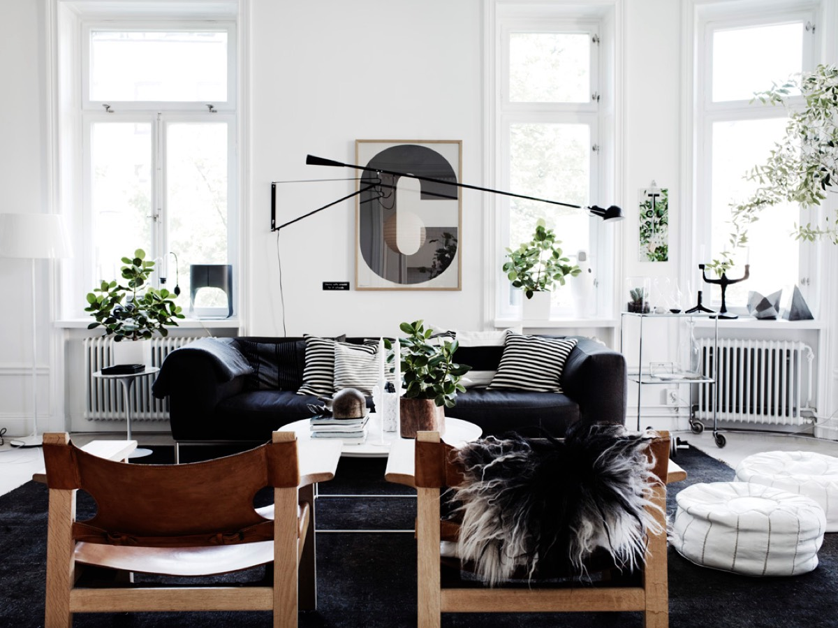 Scandinavian living room design ideas inspiration Black and white room decor