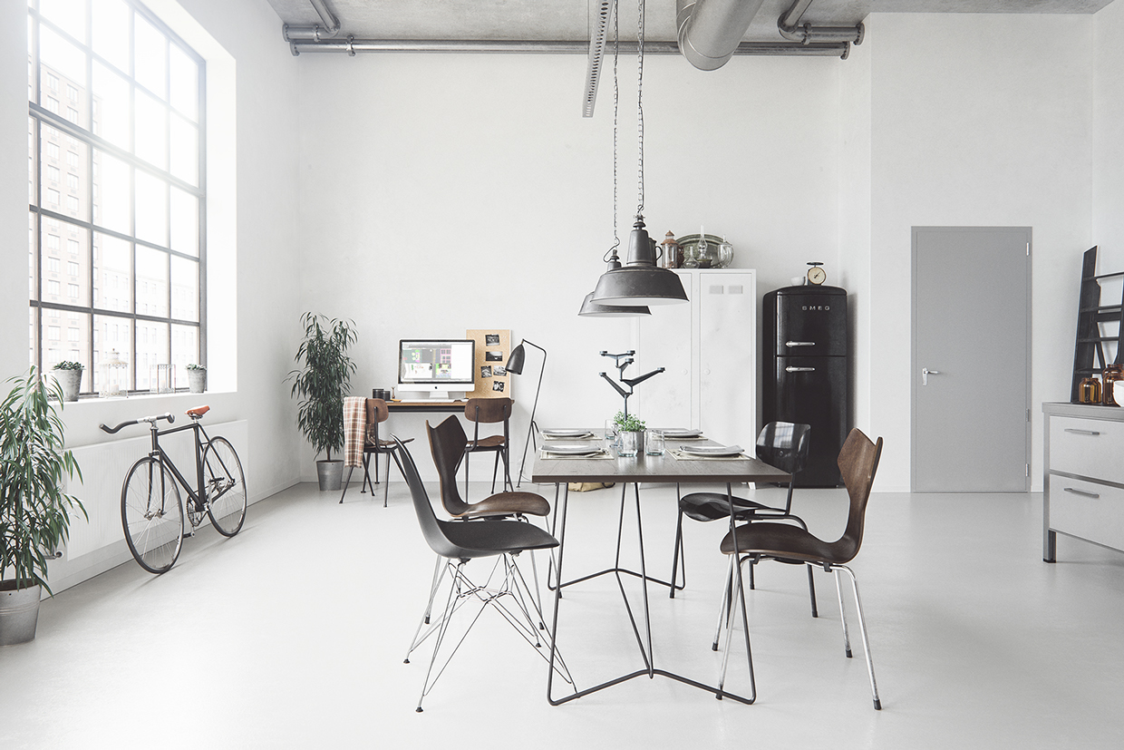 Loft hipstter dining room interior design ideas for Table inspiration scandinave