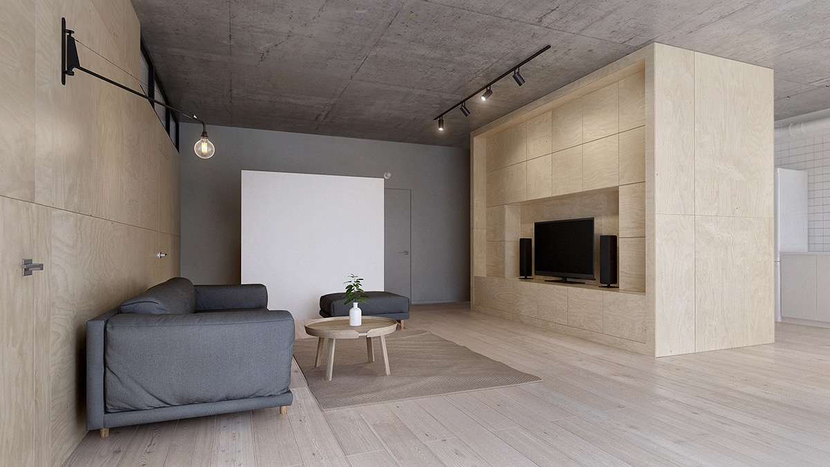 Massive Custom Entertainment Center - Minimalist apartment for a family of four