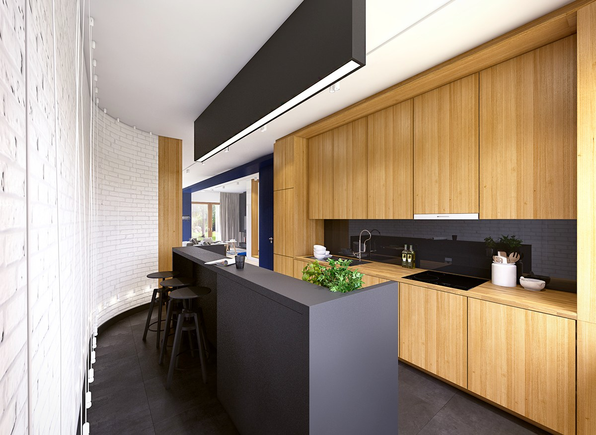 Black white wood kitchens ideas inspiration for Cuisine noir mat