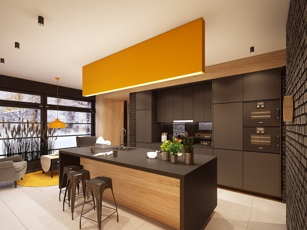 The kitchen is a bit plain compared to the rest of the home's creative color and texture, opting instead for a simple, retro-inspired mustard and brown palette. A breakfast bar and double oven make it easy enough to whip up a bowl of strawberries and a bottle of champagne at any moment.