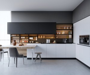 Modern Home Interior Design Kitchen. Black, White \u0026 Wood Kitchens:  Ideas Inspiration
