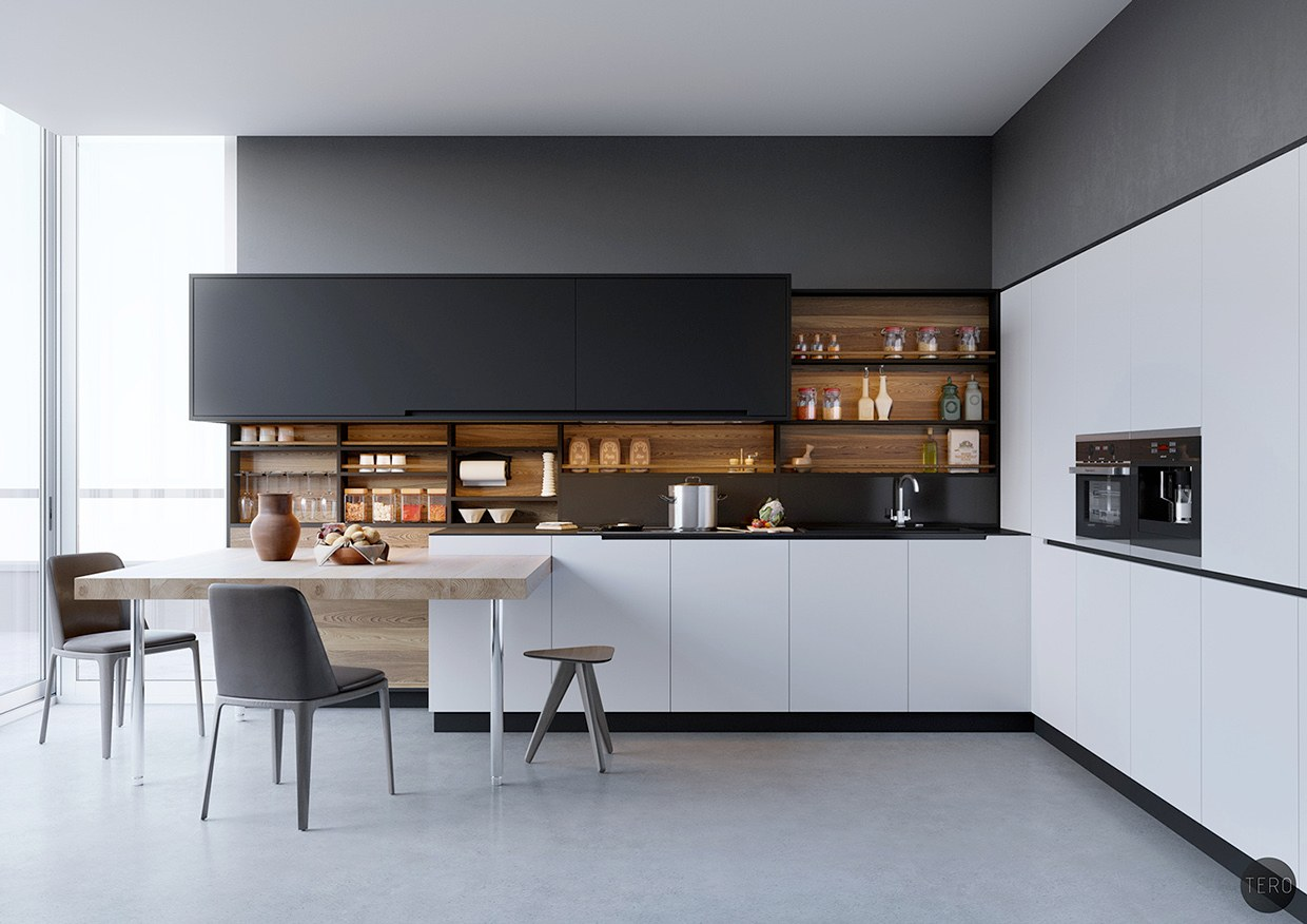 Design Modern Kitchen   Black White U0026 Wood Kitchens Ideas U0026  Inspiration