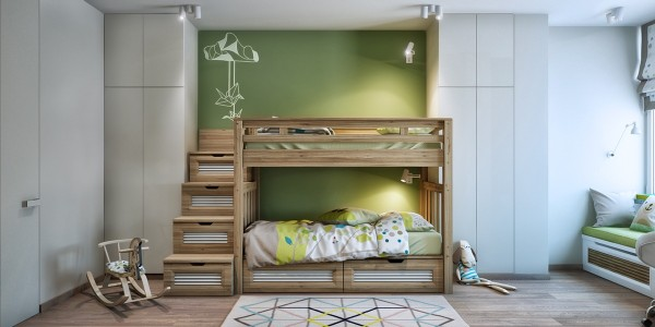 Even the kids room in this apartment is more subdued, using greens, blues, and greys to create a calm atmosphere that still has an edge of creativity and play.