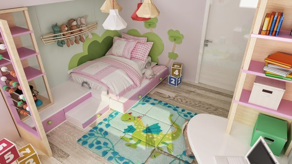 The child's bedroom is splashy, pretty pink with cleverly executed shelving and even a whimsical rug.
