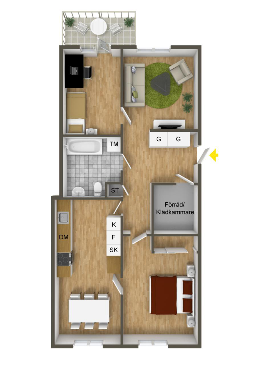 40 more 2 bedroom home floor plans for Two bedroom hall kitchen house plans