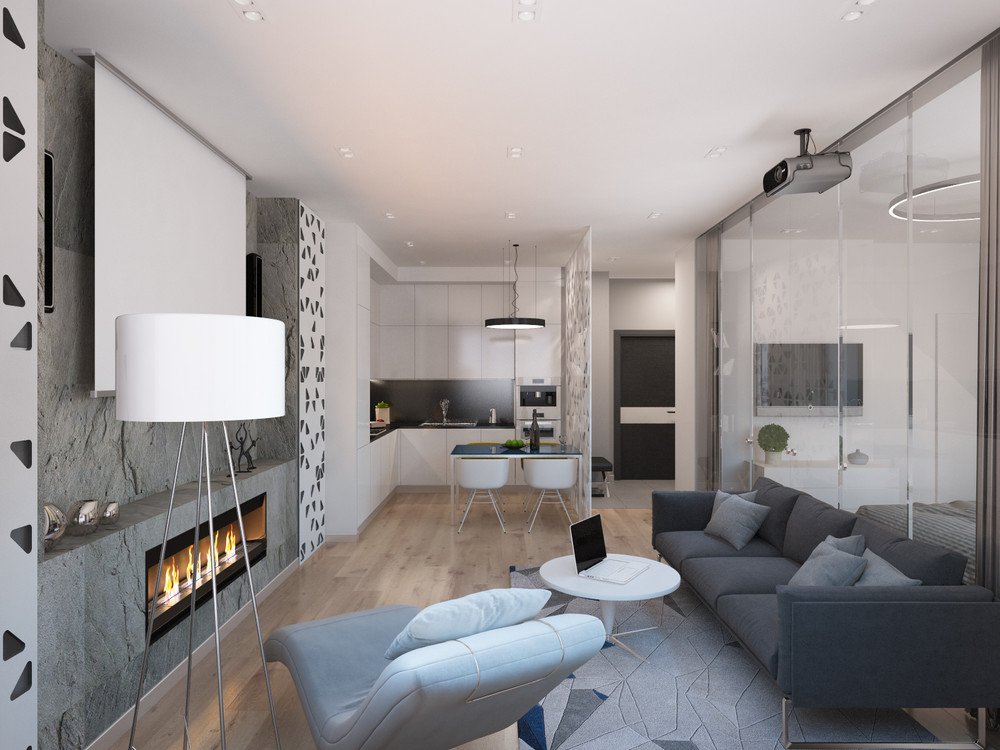 Neutral Grey Interior - 4 studios under 50 square meters that use playful patterns to good effect