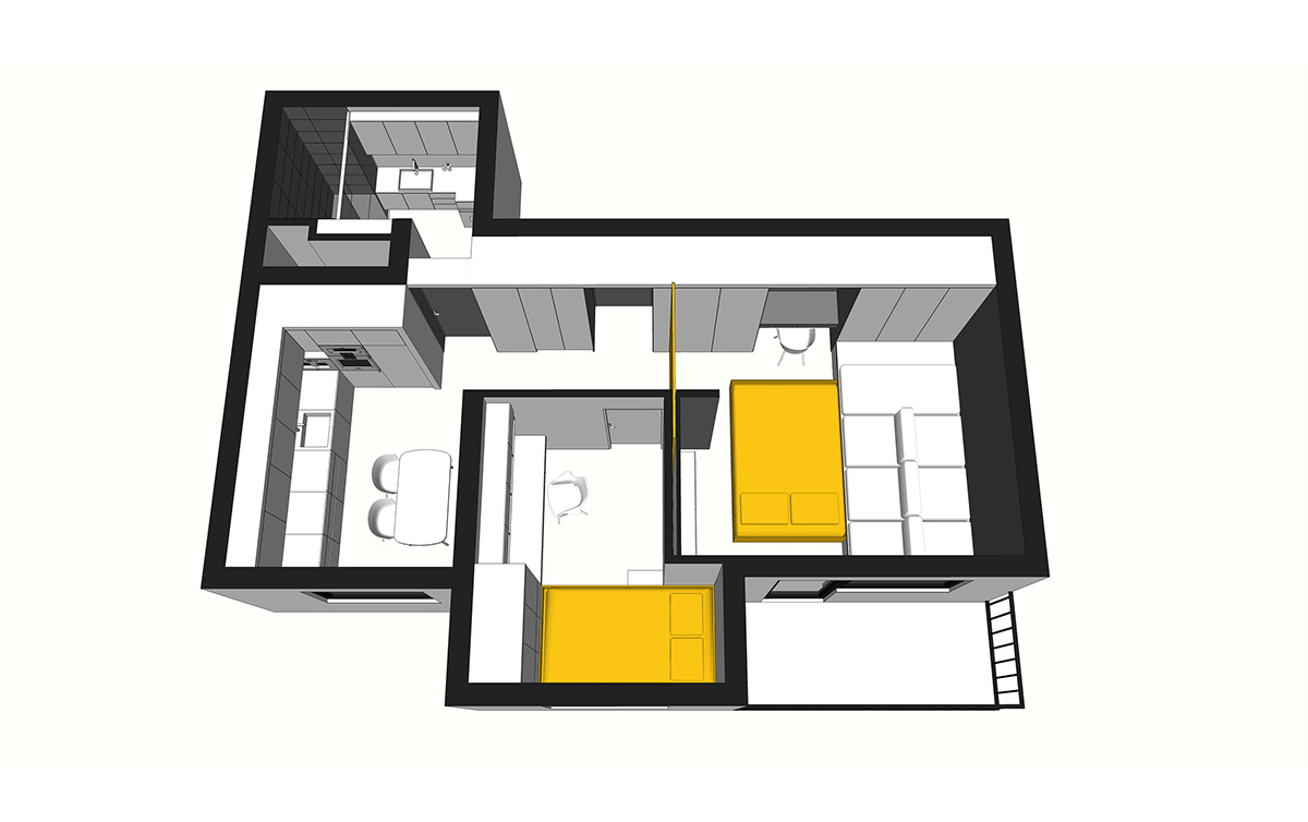 Nighttime Layout - 50 sq meter space saving apartment layout for young family