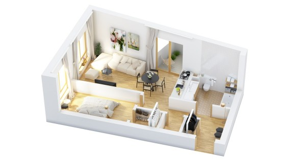 40 more 1 bedroom home floor plans for House plans with bedrooms together