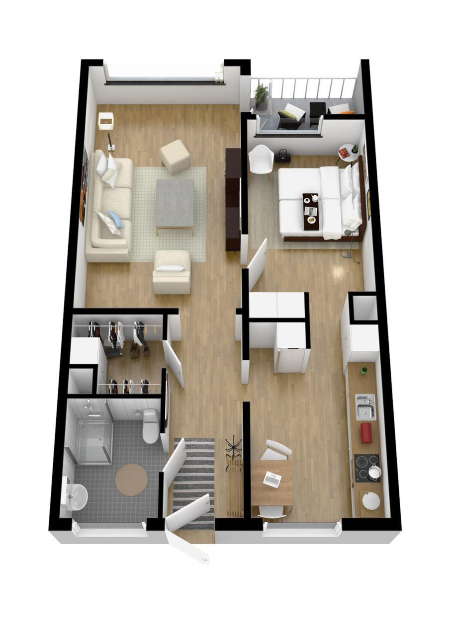 Up and down house floor plan for One bedroom design