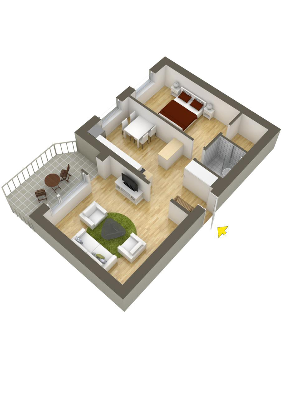 40 more 1 bedroom home floor plans for Single bedroom house plans