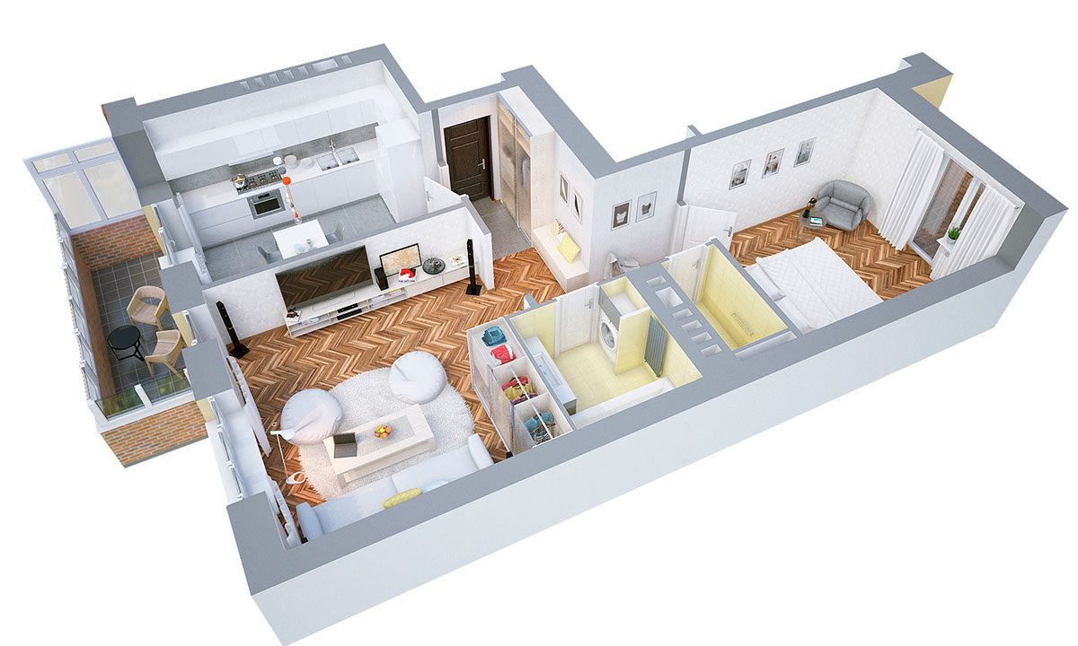 40 more 1 bedroom home floor plans for Design my bedroom layout