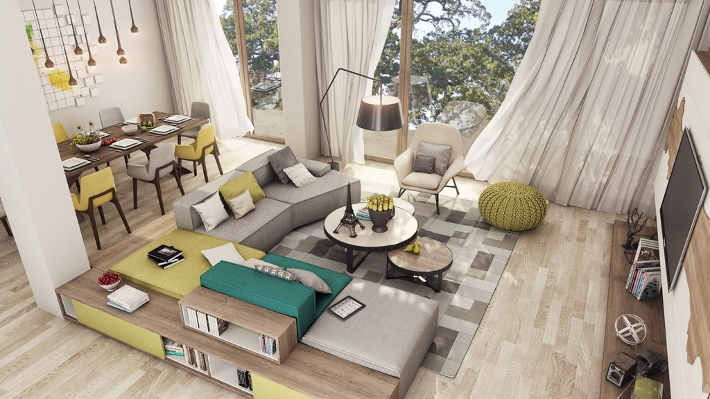 2 luxury apartment designs for young couples for Living room ideas for young couples