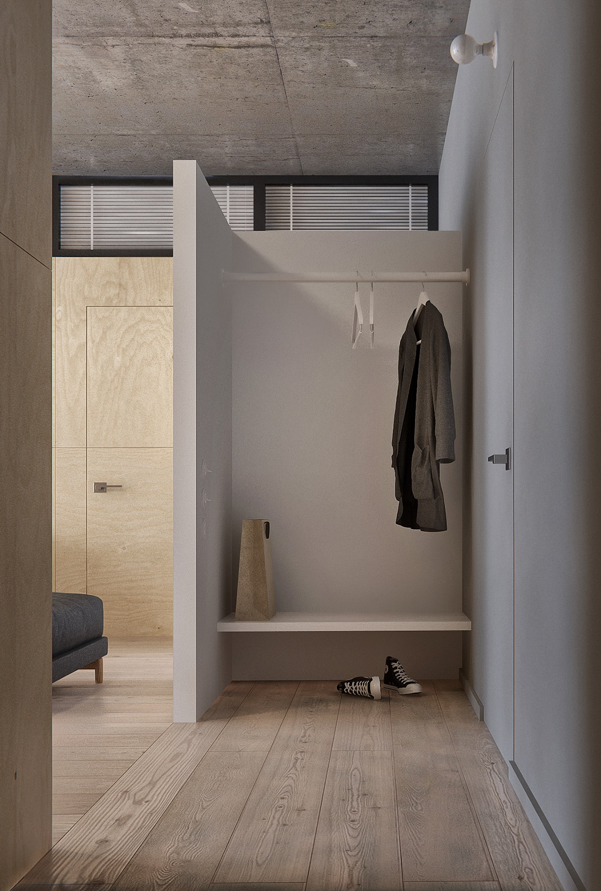 Open Hall Closet - Minimalist apartment for a family of four