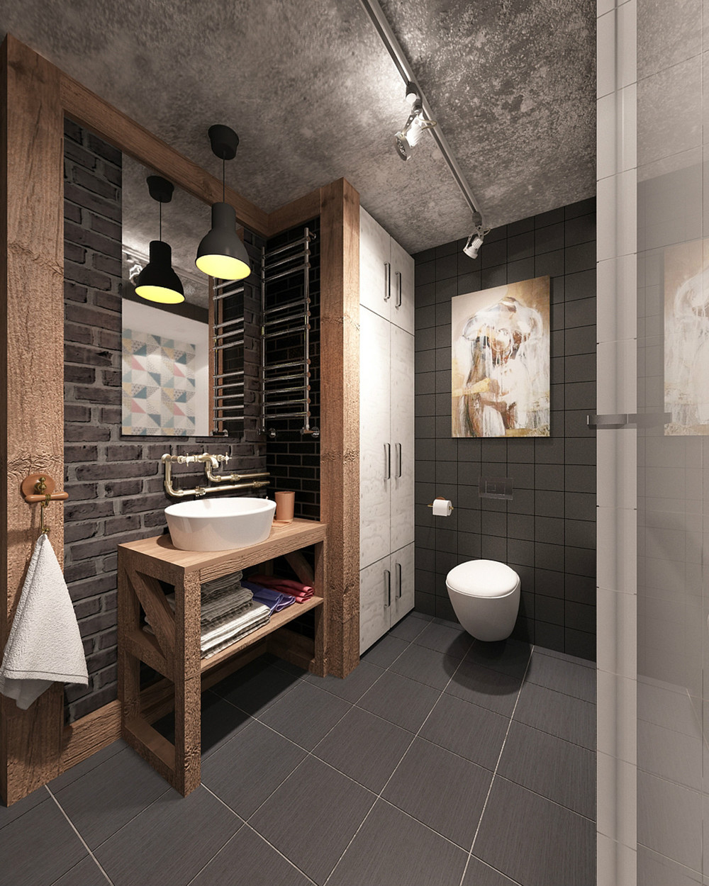 4 small beautiful apartments under 50 square meters for Toilet decor