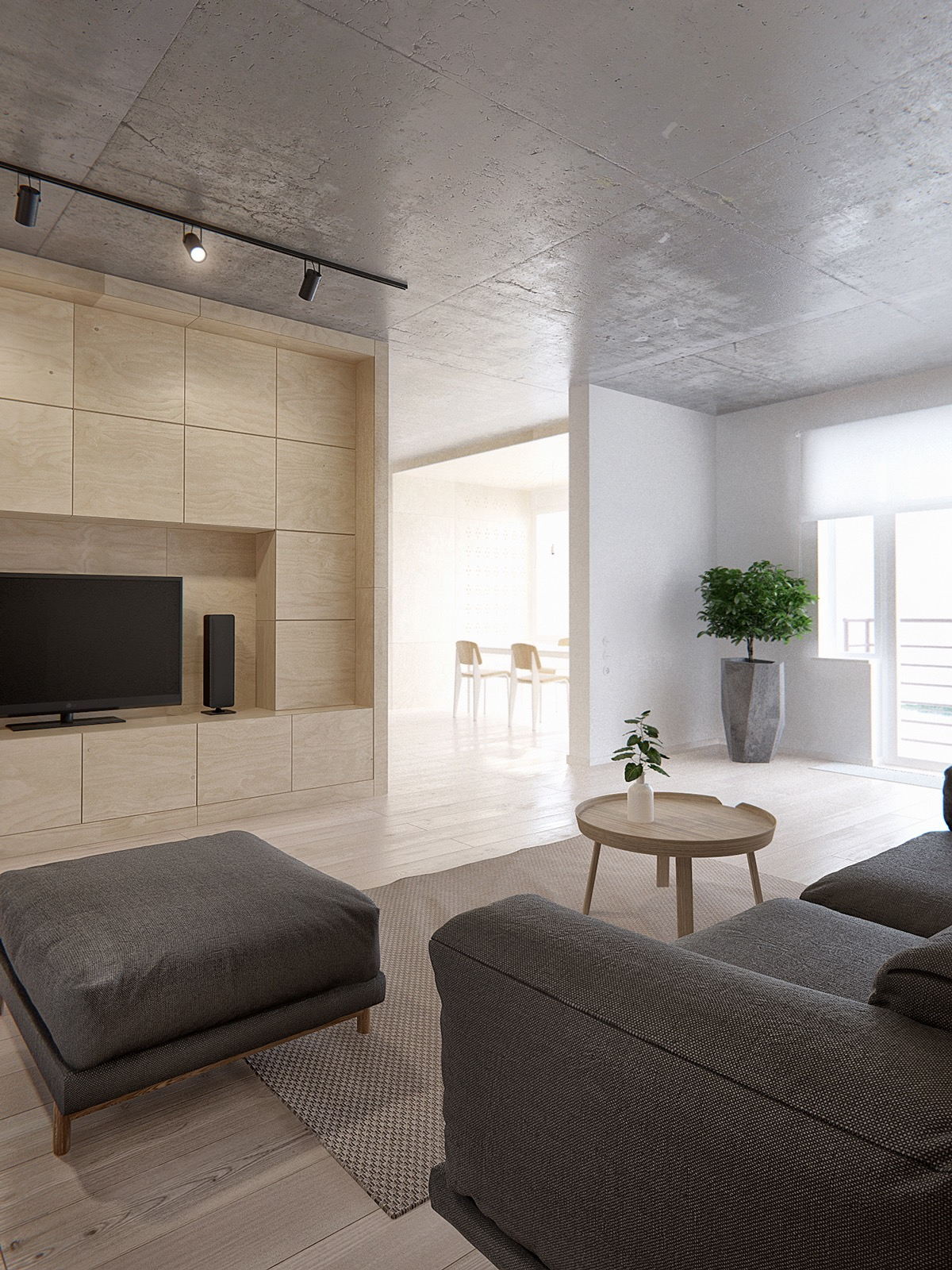 Oversized Ottoman - Minimalist apartment for a family of four