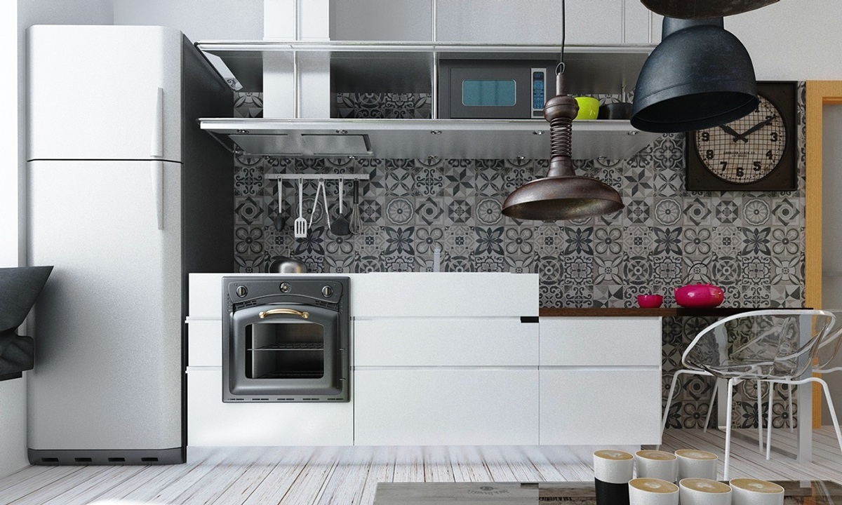 Patterened Kitchen Wall - 4 studios under 50 square meters that use playful patterns to good effect