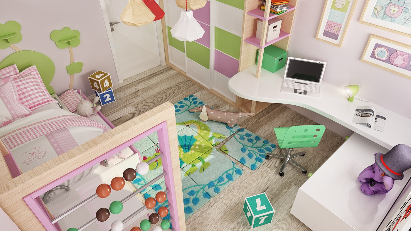 Pink And Green Kids Room - 2 luxury apartment designs for young couples