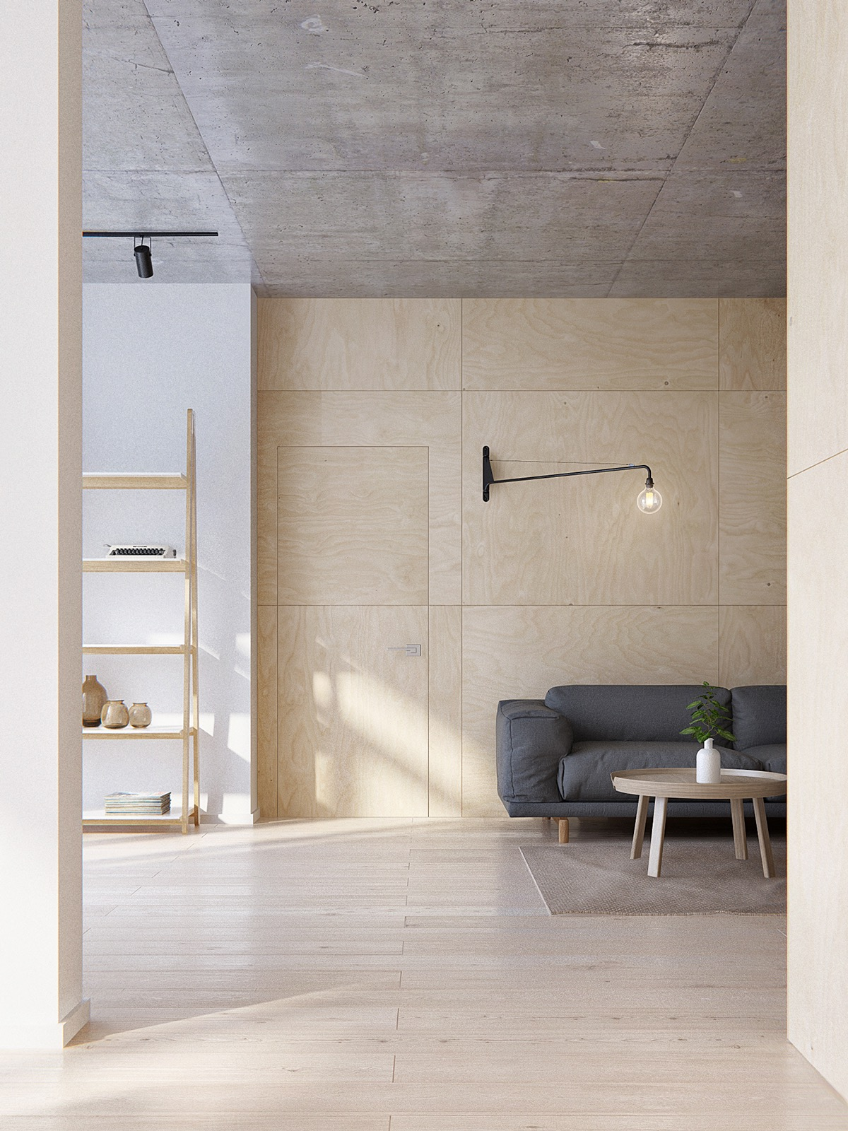 Plywood Paneling - Minimalist apartment for a family of four