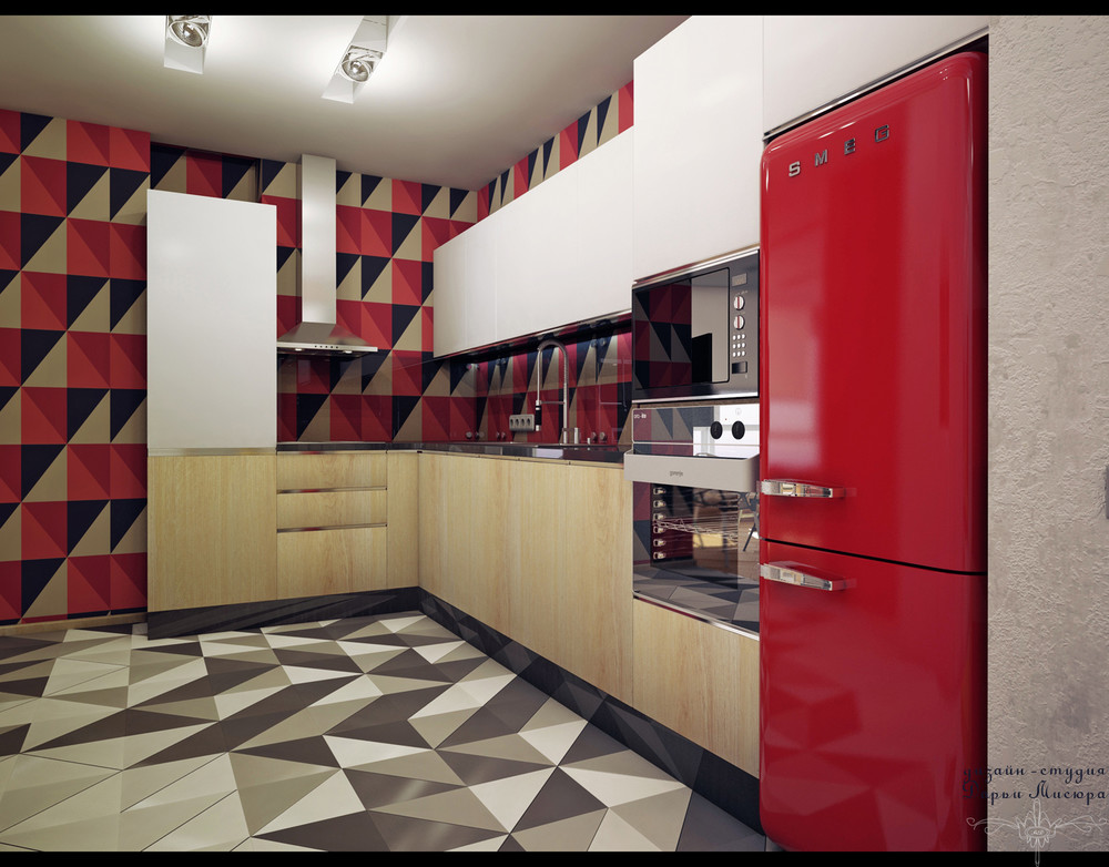 Red Accent Kitchen - 4 studios under 50 square meters that use playful patterns to good effect