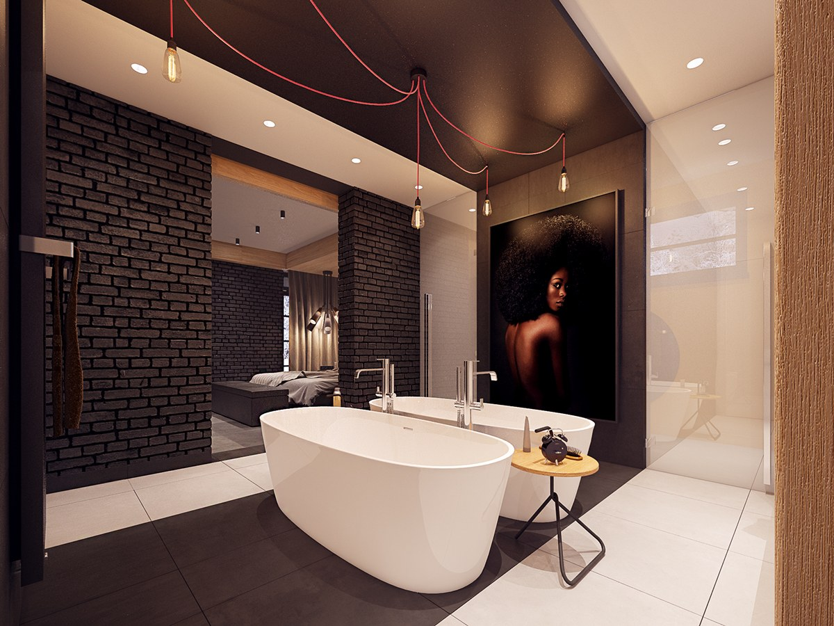 Relective Bath Panel - A seductive home with lush colors and double baths