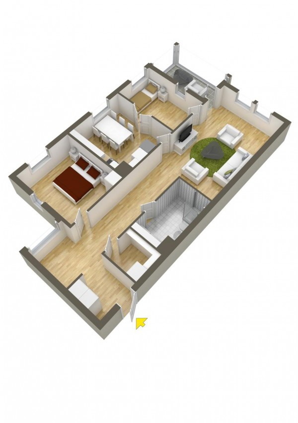 A simple layout to round out the post with a cramped kitchen and no outdoor space.