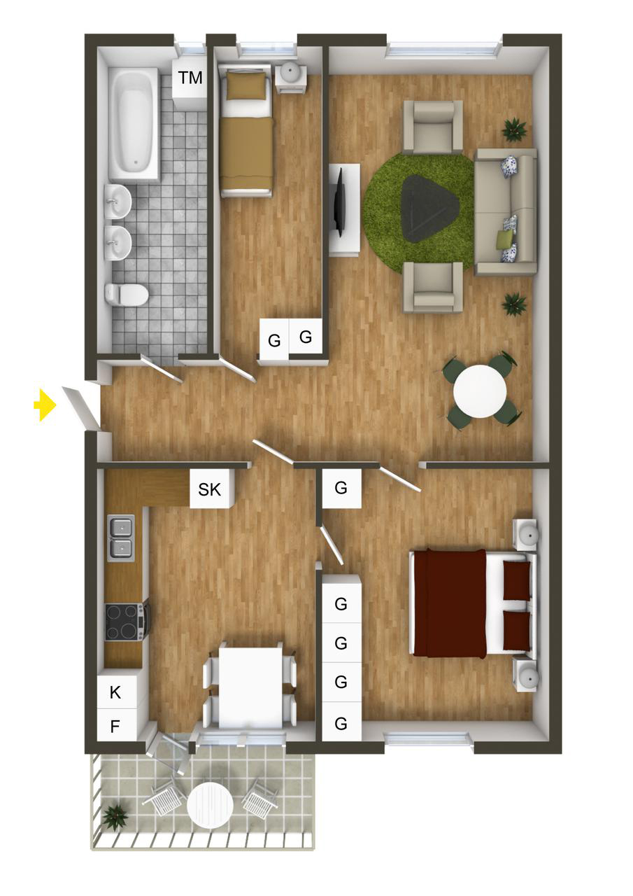 40 more 2 bedroom home floor plans for Two floor bedroom