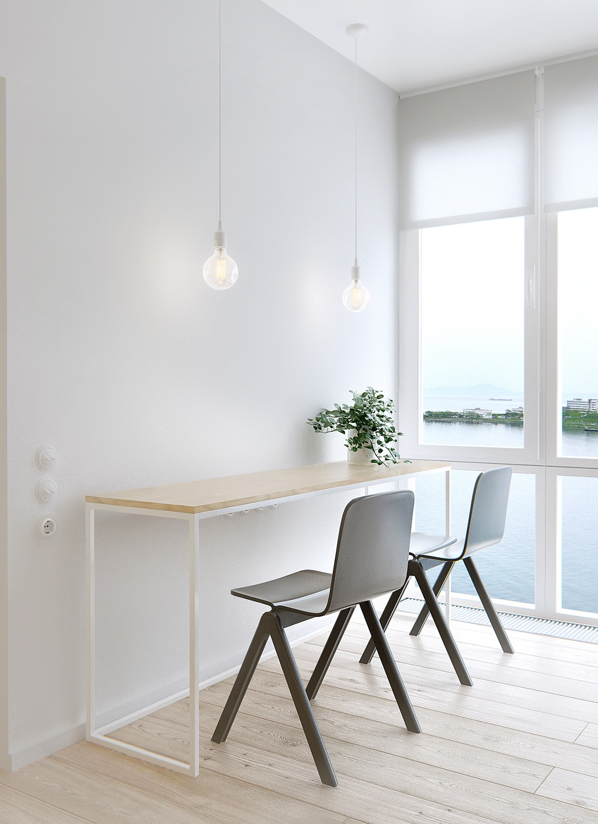 Simple White Table - Minimalist apartment for a family of four