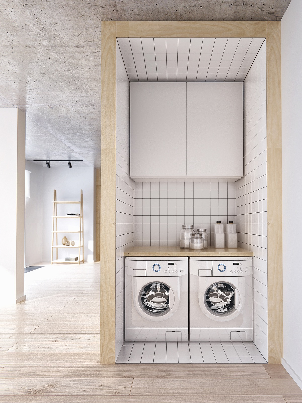 Small Modern Laundry Room - Minimalist apartment for a family of four