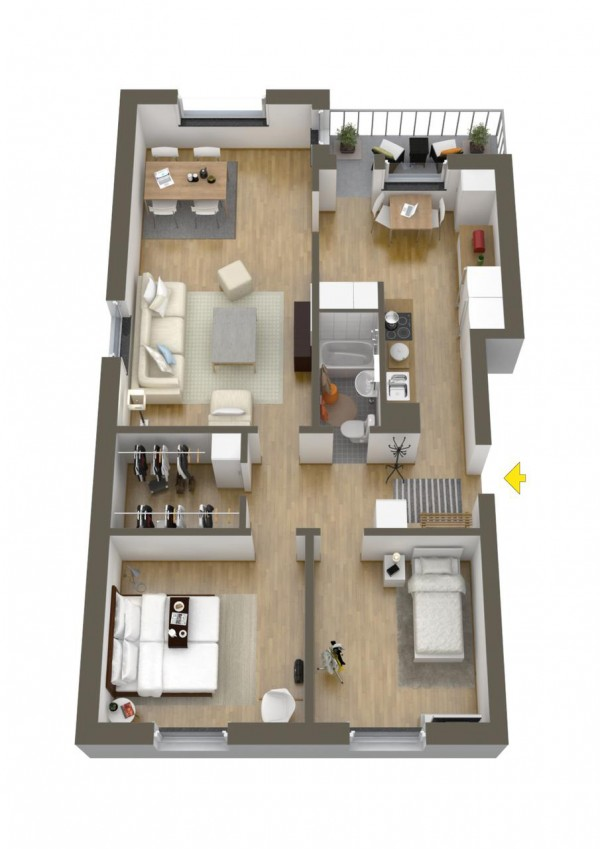 40 more 2 bedroom home floor plans for Small apartment layout plans