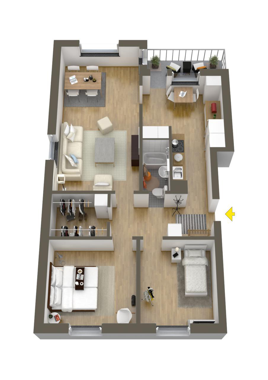 40 more 2 bedroom home floor plans for Bedroom floor plans