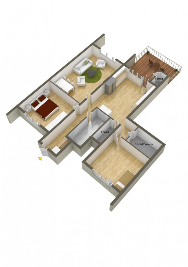 A big patio and small bedrooms is perfect for a warmer climate.