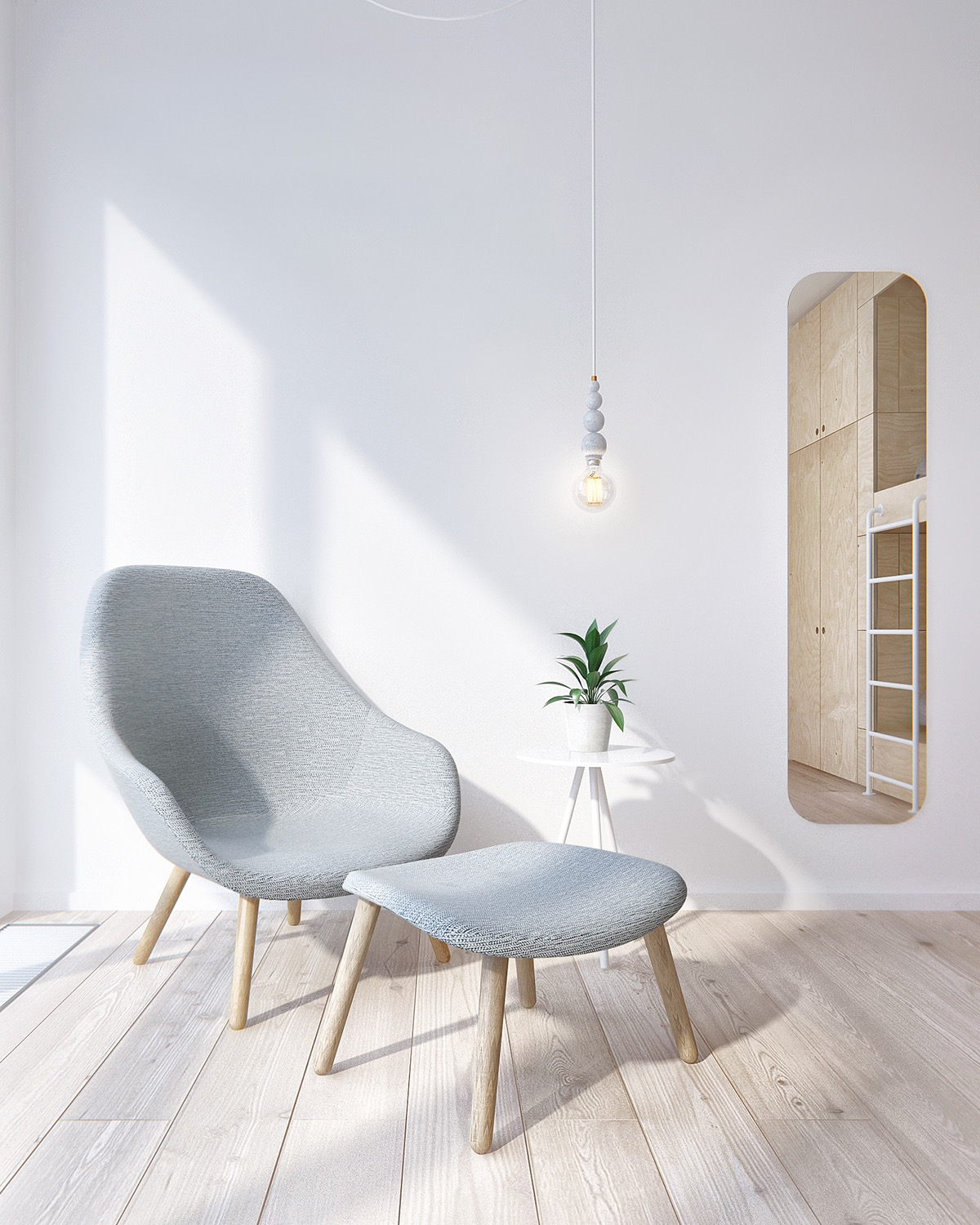 Soft Grey Chair - Minimalist apartment for a family of four