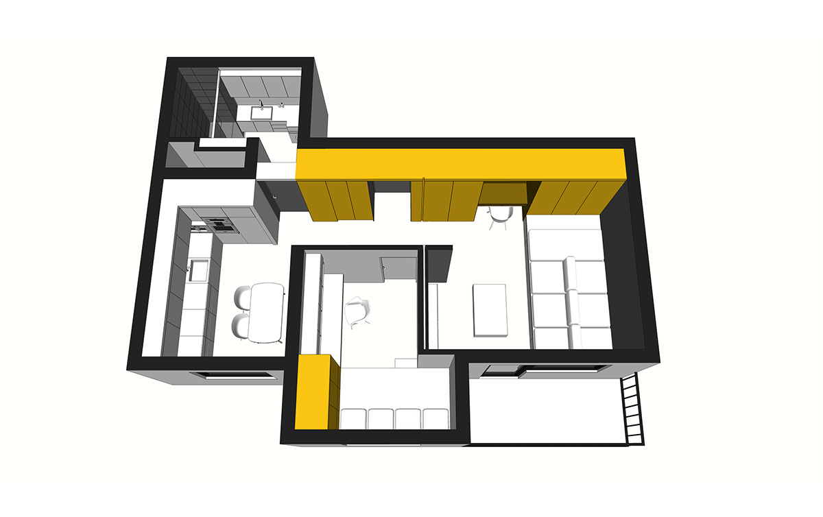 Storage System - 50 sq meter space saving apartment layout for young family