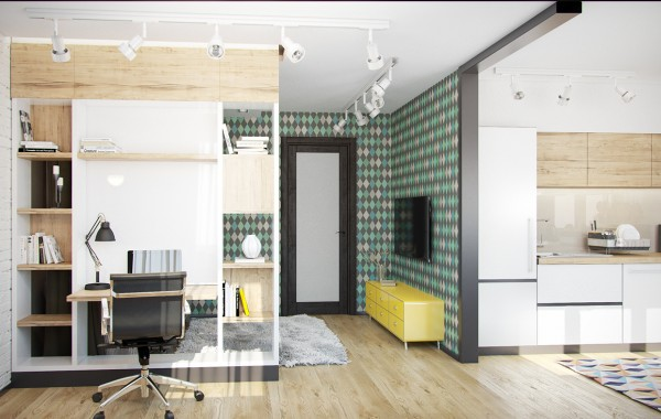 The next space uses a green diamond harlequin pattern on its chosen accent wall it