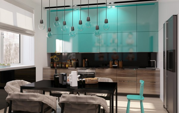 Teal kitchen cabinets interior design ideas for Teal kitchen cabinets