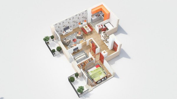 This layout has the two bedrooms directly adjacent, which doesn't allow for a ton of privacy, but is great for a couple who wants a guest room.