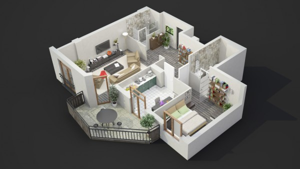 This layout clearly has a master bedroom that offers a lot more space than the second bedroom.