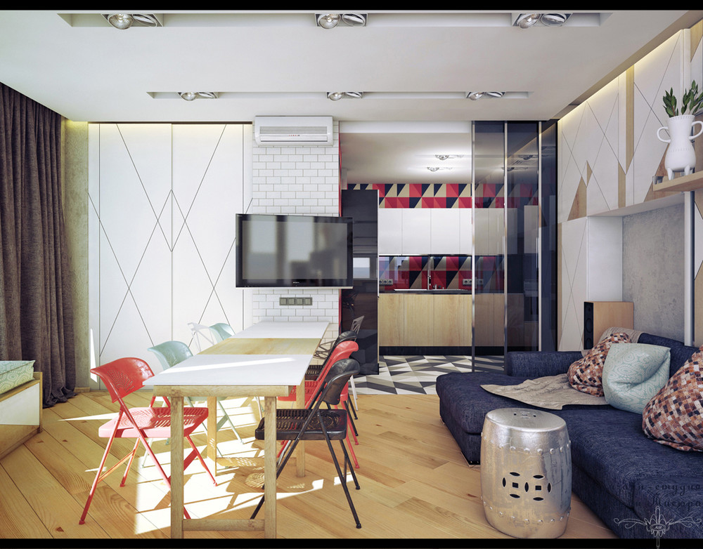 White Brick Kitchen - 4 studios under 50 square meters that use playful patterns to good effect