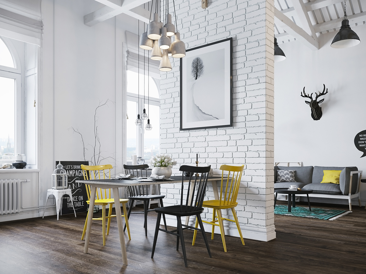 tables up and a brick mock poster depositphotos by photo cafe floor stock denisismagilov white stand marble wooden the with bar chairs interior wall on rendering