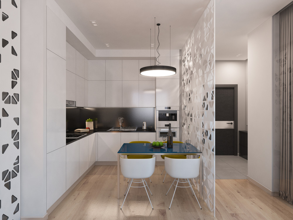 White Cabinetry - 4 studios under 50 square meters that use playful patterns to good effect