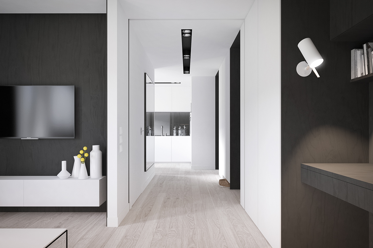 White Hallway - 50 sq meter space saving apartment layout for young family